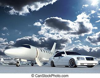 Cg jet plane and car