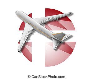 Plane and Denmark flag.