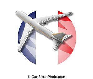 Plane and France flag.