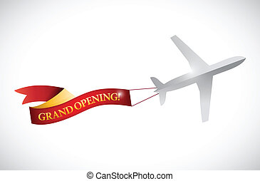 plane and grand opening ribbon banner illustration