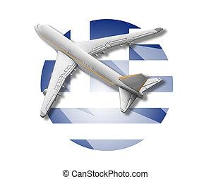 Plane and Greece flag.