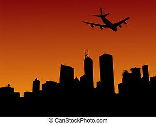 four engine plane flying over Hong Kong skyline at sunset illustration