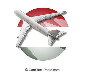 Plane and Hungary flag.