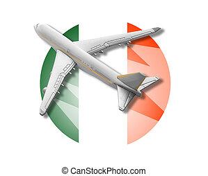 Plane and Ireland flag.