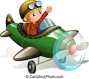 Plane and pilot - Illustration of a pilot flying an airplane