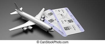 Plane and tickets on black color background. 3d illustration