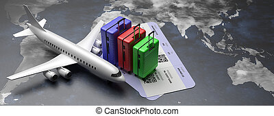 Plane and tickets on earth map background. 3d illustration