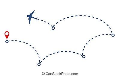 plane and track design, stock vector illustration