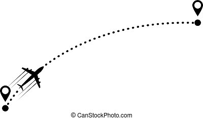 plane and track - plane and its track on white background. ...