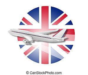 Plane and United Kingdom flag.