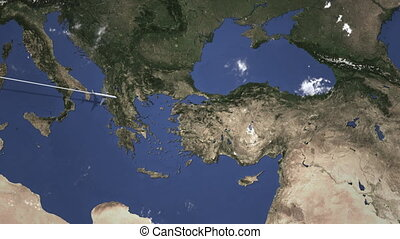 Plane arrives at Ankara, Turkey. Intro 3D animation - ...