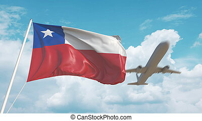 Plane arrives to airport with flag of Chile. Chilean tourism. 3D rendering