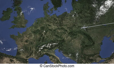 Plane arrives to Frankfurt am Main, Germany from east, 3D...