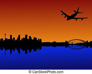 plane arriving in Sydney