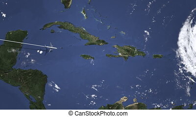 Plane arriving to Port-au-Prince, Haiti from west, intro 3D...