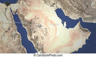 Plane arriving to Riyadh, Saudi arabia from west, 3D rendering