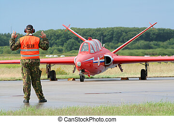 Plane at airshow ready for taxi
