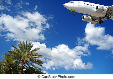 Plane at exotic destination