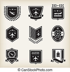 Plane aviation badges - Vector set of plane aviation badge ...