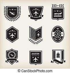 Plane aviation badges - Vector set of plane aviation badge...