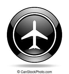 plane black glossy icon
