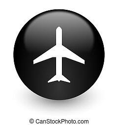 plane black glossy internet icon