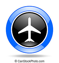 plane blue and black web glossy round icon