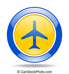 plane blue and yellow web glossy round icon