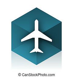 plane blue cube icon, modern design web element