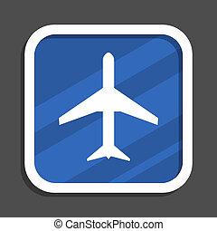 Plane blue flat design square web icon