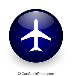 Plane blue glossy ball web icon on white background. Round 3d render button.