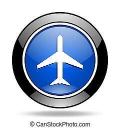 plane blue glossy icon