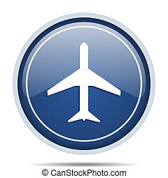 Plane blue round web icon. Circle isolated internet button for webdesign and smartphone applications.