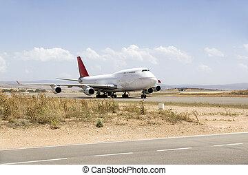 plane boeing 747 in runway an airport