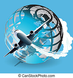plane - Illustration, plane on blue globe on blue background...