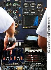 Plane Cockpit - Small Plane Cockpit with Crew Preparing for...