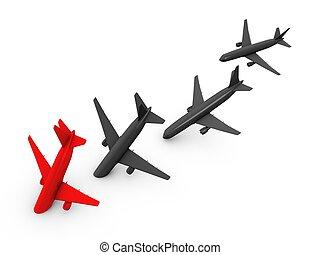3d image, Plane crash isolated over white background