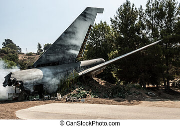 Plane crash - an airplane tail in a plane crash site