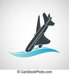 Plane Crash icon. A terrorist act.