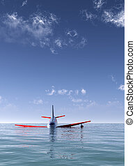 Plane Crash In Sea - A plane that has crashed into the sea.