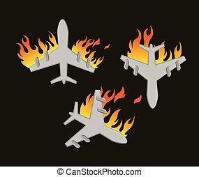 Plane Crash Vector Illustration Set