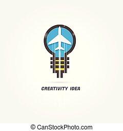 plane. creativity idea. logo. design modern. vector illustration. on white background. air company