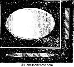 Plane cylindrical lens, vintage engraving.