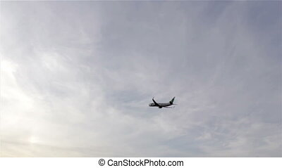 Plane Departure Sky Background - Air travel - Silhouette of...