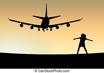 Plane - The boy costs under plane flying over it