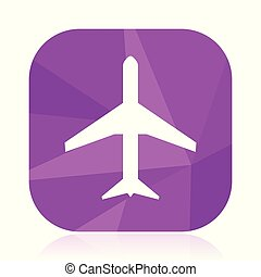 Plane flat vector icon. Airplane violet web button. Airport internet square sign. Travel modern design symbol in eps 10.