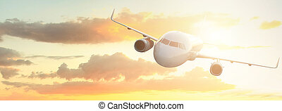 plane flies against the backdrop of a beautiful sunset