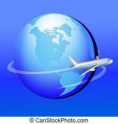 plane flies around globe in journey - illustration plane...