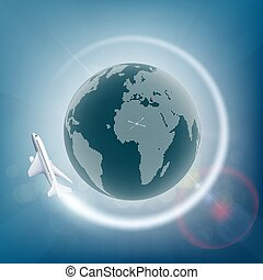 Plane flies around the planet earth. Stock vector...