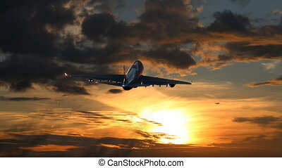 Plane Flies Away Against Time-Lapse Sunset Background. Beautiful 3d Animation. Ultra HD 4K 3840x2160.